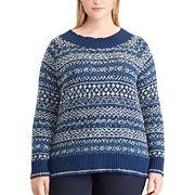 Plus Size Chaps Cable-Knit Crewneck Sweater
