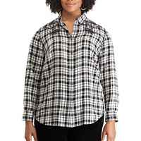 Plus Size Chaps Embroidered Button-Down Shirt
