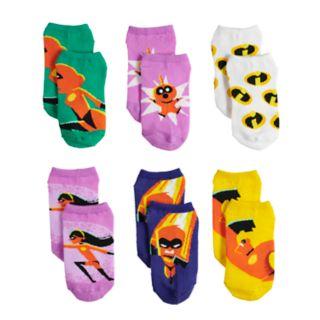 Disney / Pixar The Incredibles 2 Girls 4-6x 6 Pack No-Show Socks