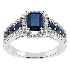 Sterling Silver Lab-Created Sapphire Cubic Zirconia Accent Ring