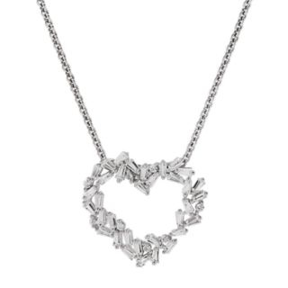Simply Vera Vera Wang Lab-Created Sapphire Baguette Cluster Heart Pendant Necklace