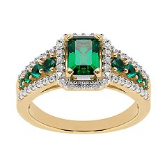 14k Gold Over Silver Lab-Created Emerald Cubic Zirconia Accent Ring