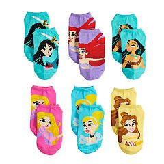 Disney Princess Girls 4-6x 6-pack No-Show Socks