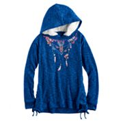 Girls 7-16 Mudd Side-Seam Lace-Up Sherpa Hoodie