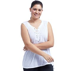 Plus Size Balance Collection Lace-Up Tank