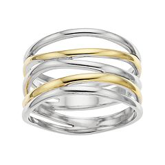 Two Tone Sterling Silver Crisscross Ring