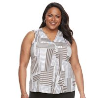 Plus Size Dana Buchman Pleated V-Neck Tank