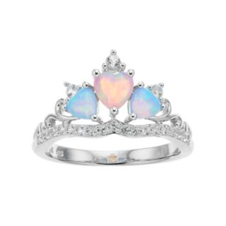 Sterling Silver Lab-Created Opal Tiara Ring