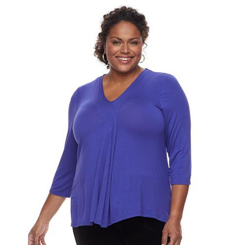 Plus Size Dana Buchman Release Pleat Top