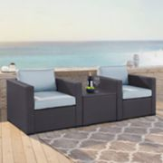 Crosley Furniture Biscayne Patio Wicker Chair & Coffee Table 3-piece Set