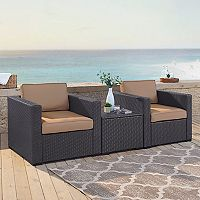 Crosley Furniture Biscayne Patio Wicker Chair & Coffee Table 3 pc Set