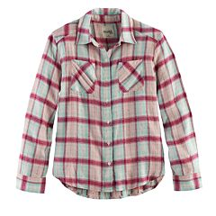 Girls 7-16 Mudd® Metallic Plaid Button-Front Flannel Shirt