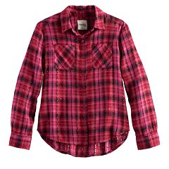 Girls 7-16 Mudd® Metallic Plaid Button-Front Flannel Shirt