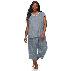 Plus Size Croft & Barrow® Printed Tee & Capri Pajama Set