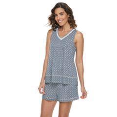Women's Croft & Barrow® Printed Tank & Shorts Pajama Set