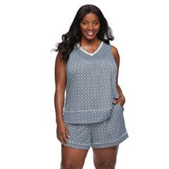 Plus Size Croft & Barrow® Printed Tank & Shorts Pajama Set