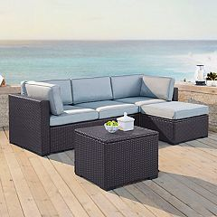 Crosley Furniture Biscayne Patio Wicker Loveseat, Chair, Coffee Table & Ottoman 4-piece Set