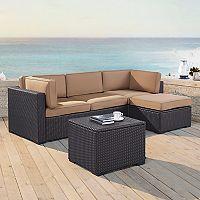 Crosley Furniture Biscayne Patio Wicker Loveseat, Chair, Coffee Table & Ottoman 4 pc Set