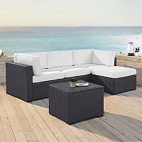 Crosley Furniture Biscayne Patio Wicker Loveseat, Chair, Coffee Table & Ottoman 4 pc Set