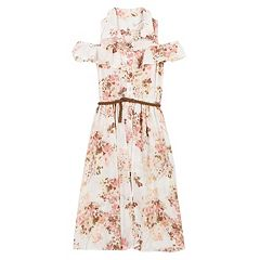 Girls 7-16 Speechless Belted Cold Shoulder Floral Walk-Through Dress