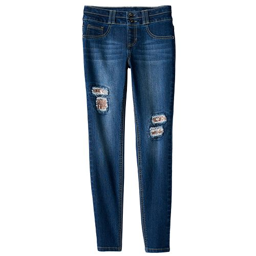 Girls 7-16 SO® Double Button Jegging Skinny Jeans