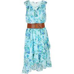 Girls 7-16 Speechless Criss Cross Front Belted High-Low Ruffle Dress