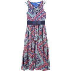 Girls 7-16 Speechless Geometric Print Belted Walk-Through Maxi Romper