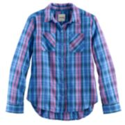 Girls 7-16 & Plus Size Mudd® Metallic Plaid Button-Front Flannel Shirt