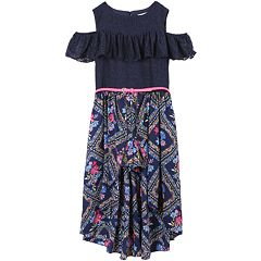 Girls 7-16 Speechless Lace Cold Shoulder Belted Walk-Through Maxi Romper
