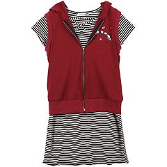 Girls 7-16 Speechless Hooded Vest & Striped Dress Set