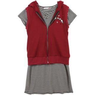 Girls 7-16 Speechless Hooded Vest & Striped Dress Set