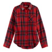 Girls 7-16 & Plus Size SO® Button-Down Metallic Plaid Shirt