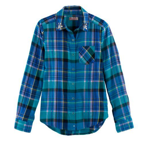 Girls 7-16 & Plus Size SO® Button-Down Metallic Plaid Shirt
