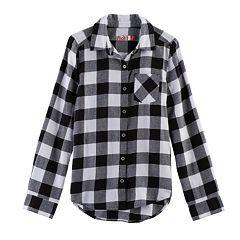 Girls 7-16 SO® Button-Down Metallic Plaid Shirt