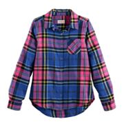 Girls 7-16 SO® Button-Down Metallic Plaid Shirt