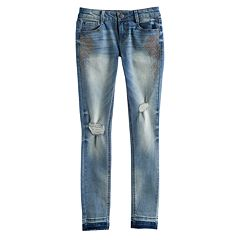 Girls 7-16 & Plus Size Mudd® Embellished Destructed Released Hem Skinny Jeans