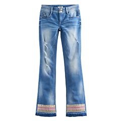 Girls 7-16 Mudd® Embroidered Raw Hem Bootcut Jeans