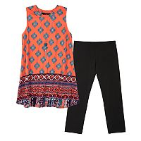 Girls 7-16 IZ Amy Byer Printed Tunic & Solid Leggings Set with Necklace