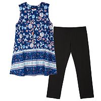 Girls 7-16 & Plus Size IZ Amy Byer Printed Tunic & Solid Leggings Set with Necklace