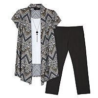 Girls 7-16 IZ Amy Byer Tribal Foil Hatchi Mock-Layer Cozy Top & Leggings Set with Necklace