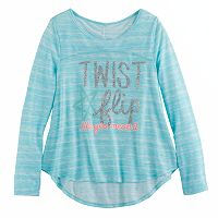 Girls 7-16 SO® Open Ruched Tie-Back Graphic Yoga Tee
