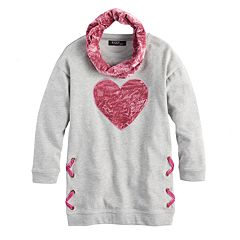Girls 7-16 Sugar Rush Crush Velvet Heart Tunic & Infinity Scarf Set