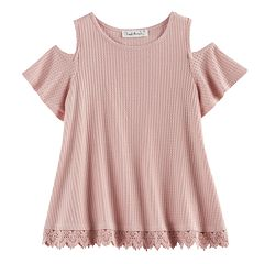 Girls 7-16 Cloud Chaser Crochet Trim Cold Shoulder Top