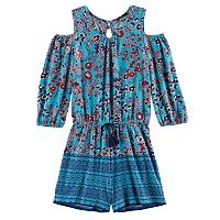 Girls 7-16 My Michelle Cold Shoulder Floral Romper