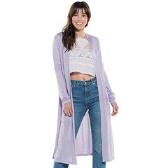 Juniors' Hint of Mint Duster Cardigan