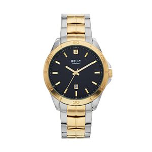 Relic by Fossil Men's Chase Diamond Accent Two Tone Stainless Steel Watch - ZR12558