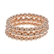 Rose Gold Tone Beaded Stretch Bracelet Set