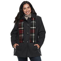 Plus Size TOWER by London Fog Wool Blend Jacket & Scarf Set