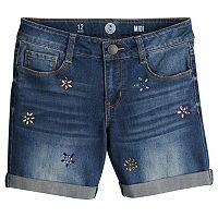 Girls 7-16 SO® Rolled Cuff Fashion Midi Denim Shorts