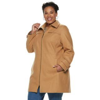 Plus Size TOWER by London Fog Zip-Front Wool Blend Jacket